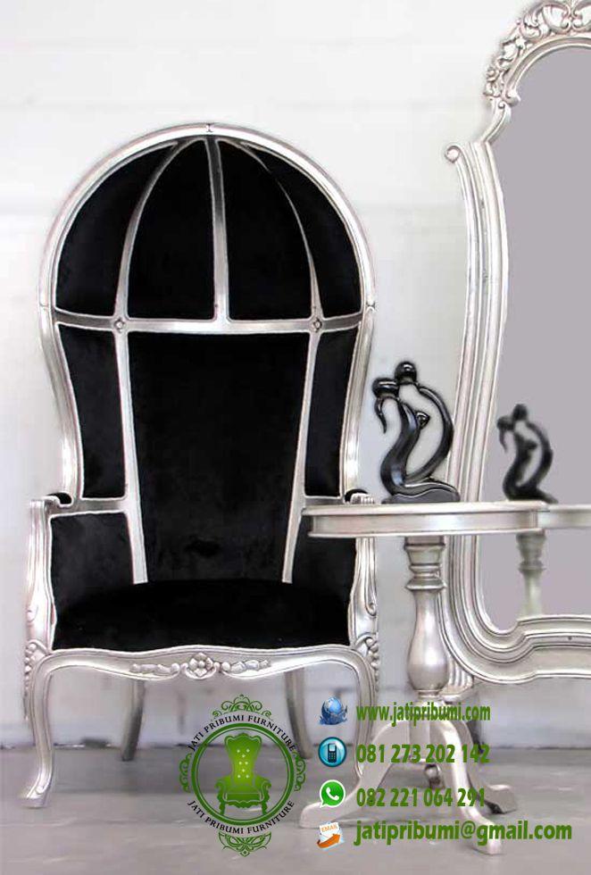 kursi porter warna silver kain jok hitam dengan meja