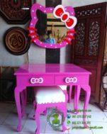 Meja Rias Hello Kitty Pink Kayu Jati Duco