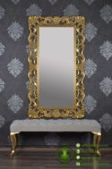Cermin Mewah Model Ukiran & Puff