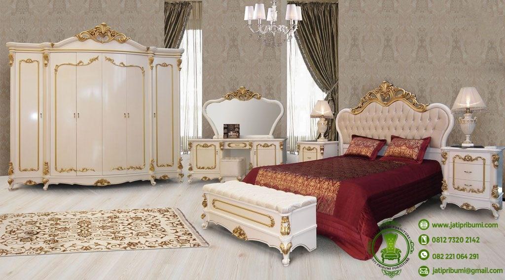 tempat tidur set model ukiran jati pribumi