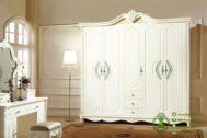 Lemari Baju Klasik Warna Putih Pintu 5