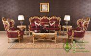 Kursi Tamu Mewah Warna Putih dan Emas