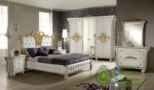 Set Kamar Tidur Ukiran Warna Cream dan Gold