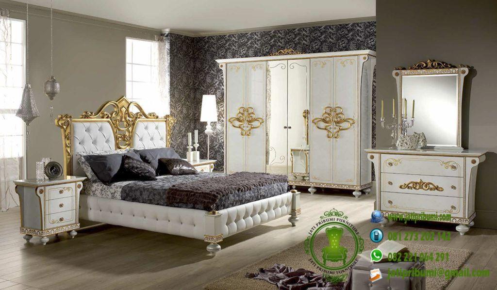 Set Kamar Tidur Ukiran Warna Cream dan Gold model terbaru harga murah berkualitas