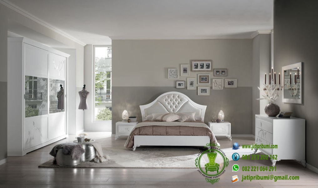 stupefacente camera da letto bianca e argento