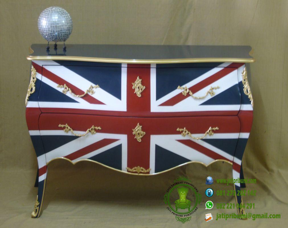 drawer bendera inggris meja cat duco minimalis model terbaru