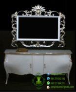 Drawer Cermin Ukir Warna Silver Putih Emas