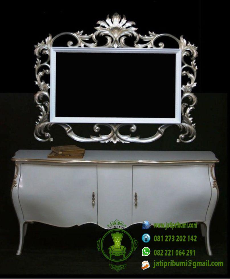 drawer cermin ukir terbaru warna putih