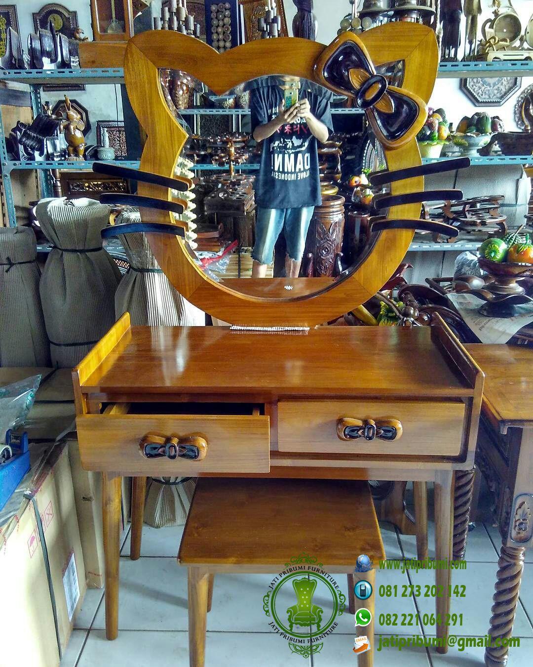 meja rias hello kitty kayu jati harga murah
