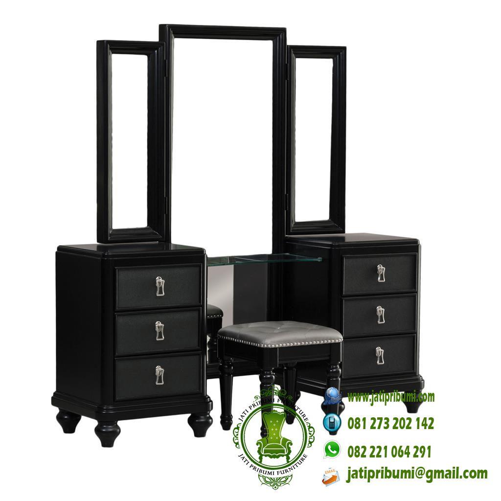 meja rias set tempat tidur minimalis warna hitam