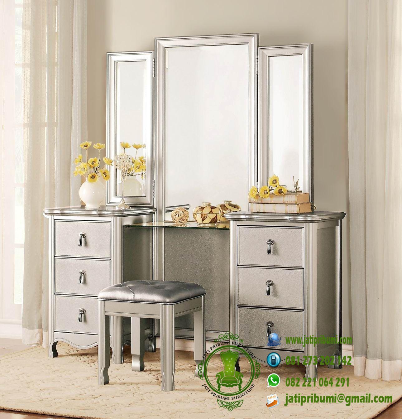 meja rias set tempat tidur minimalis warna silver model terbaru harga murah berkualitas