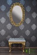 Cermin Oval Ukiran Desain Klasik & Puff