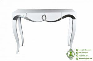 Meja Konsul Warna Putih dan Silver