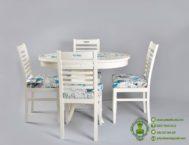 Meja Makan Bundar Minimalis Putih Kursi 4