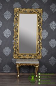Cermin Ukiran Warna Emas & Puff