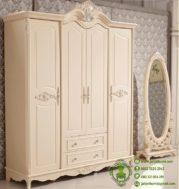 Harga Lemari Baju Ukiran Pintu 4 Warna Putih