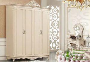 Lemari Baju Ukiran Warna Putih Pintu 4