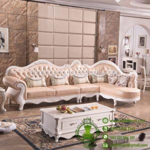 Sofa Tamu Sudut Mewah Putih Duco