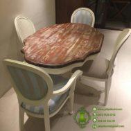 Meja Makan Oval Minimalis 4 Kursi