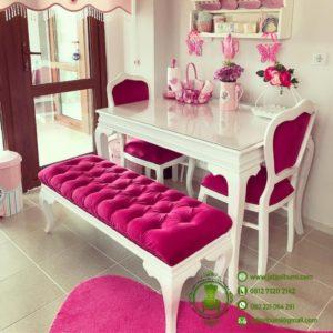 Meja Makan Shabby Chic Pink