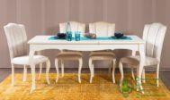 Meja Makan Shabby Putih 4 Kursi