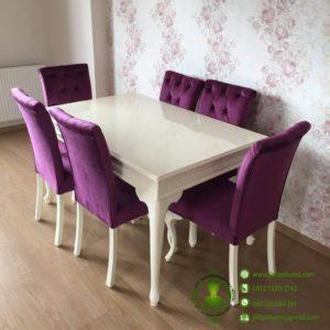 Meja Makan Shabby Ungu Putih