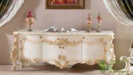Meja TV Putih Emas Cat Duco