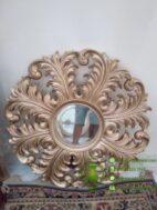 Cermin Bulat Ukiran Warna Emas