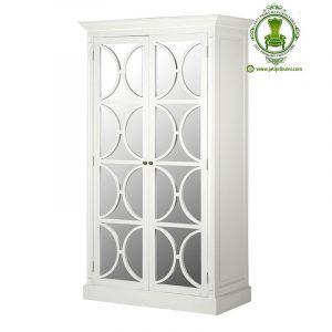 Lemari Pakaian Putih 2 Pintu Kaca
